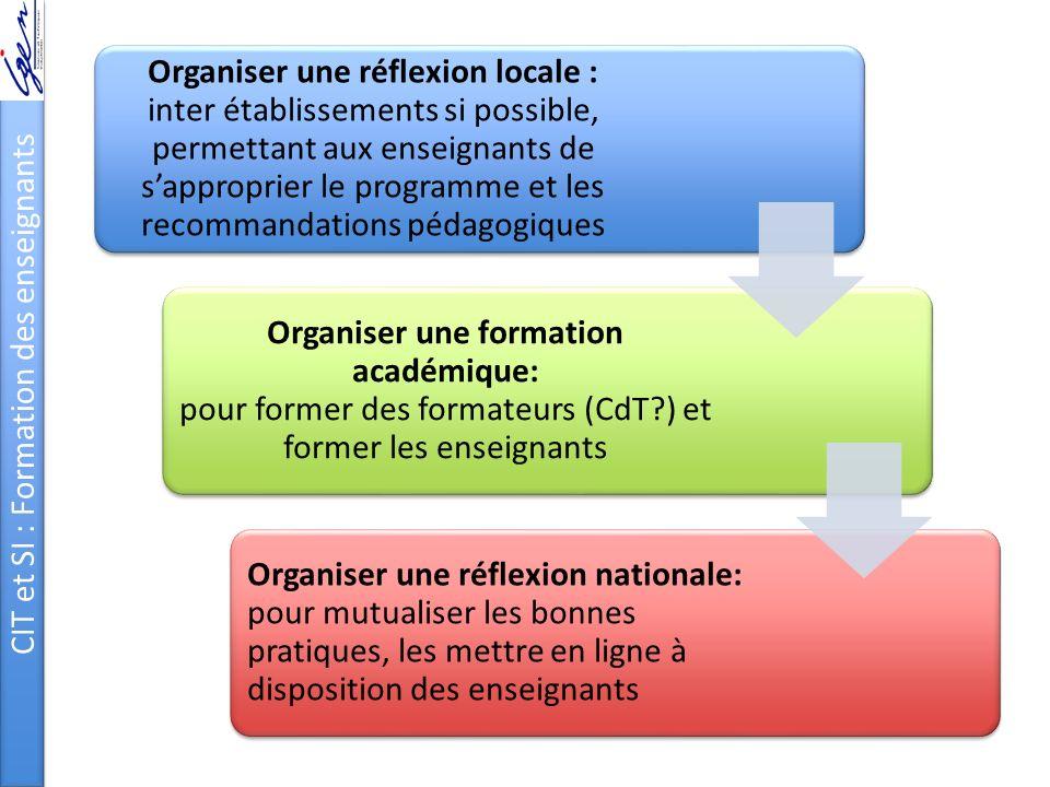 CIT et SI : Formation des enseignants Organiser une réflexion locale : inter établissements si possible, permettant aux enseignants de sapproprier le
