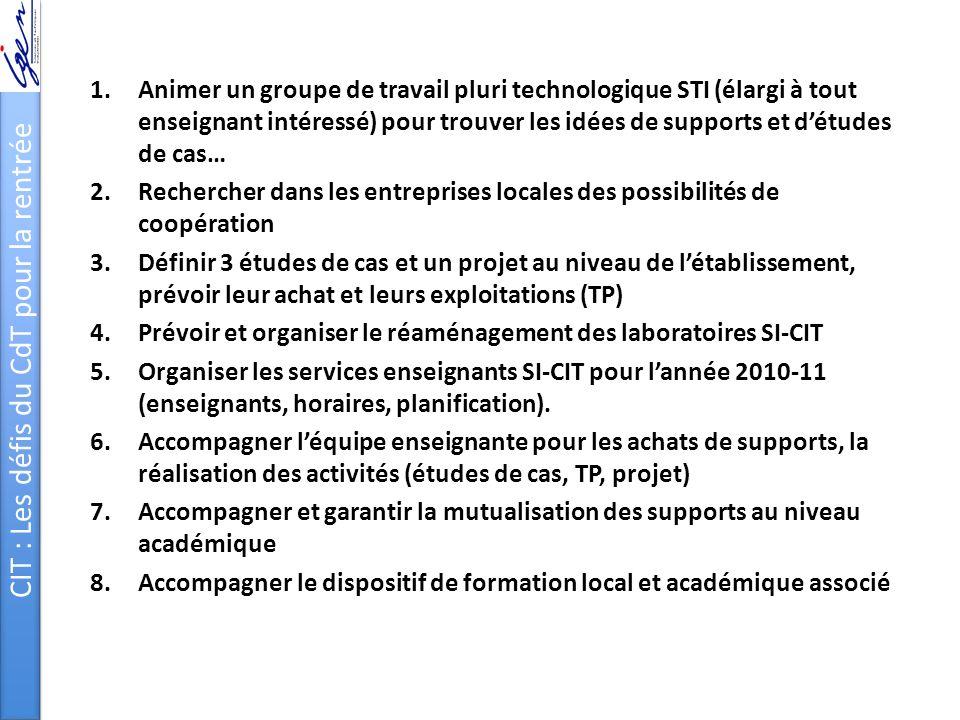 CIT : Les défis du CdT pour la rentrée 1.Animer un groupe de travail pluri technologique STI (élargi à tout enseignant intéressé) pour trouver les idé