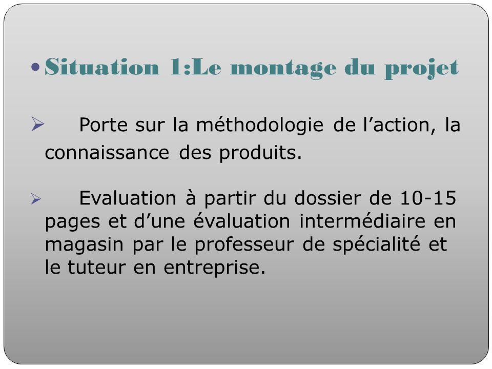 Situation 1:Le montage du projet Porte sur la méthodologie de laction, la connaissance des produits. Evaluation à partir du dossier de 10-15 pages et
