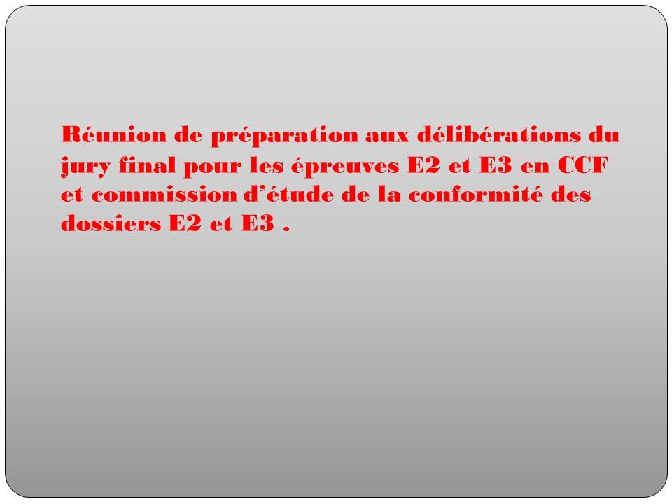 Réunion de préparation aux délibérations du jury final pour les épreuves E2 et E3 en CCF et commission détude de la conformité des dossiers E2 et E3.
