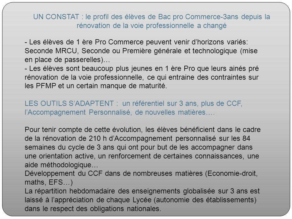 UN CONSTAT : le profil des élèves de Bac pro Commerce-3ans depuis la rénovation de la voie professionnelle a changé - Les élèves de 1 ère Pro Commerce