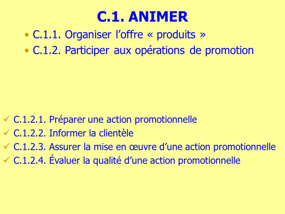C.1. ANIMER C.1.1. Organiser loffre « produits » C.1.2.