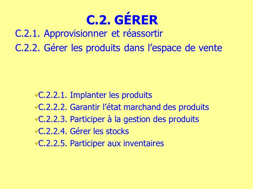 C.2.2.1. Implanter les produits C.2.2.2. Garantir létat marchand des produits C.2.2.3. Participer à la gestion des produits C.2.2.4. Gérer les stocks