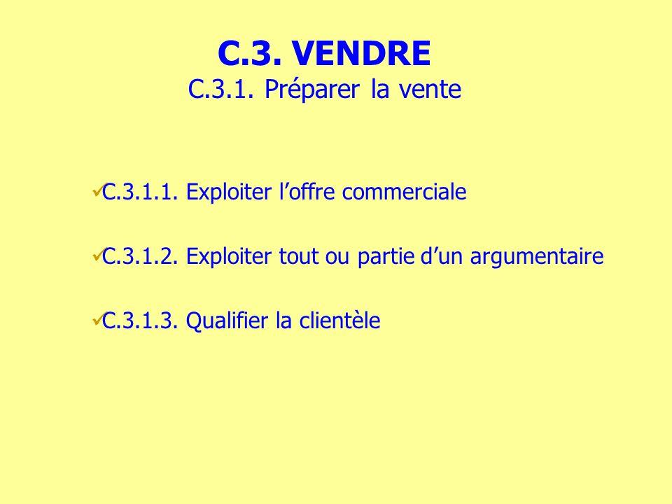 C.3.1.1. Exploiter loffre commerciale C.3.1.2. Exploiter tout ou partie dun argumentaire C.3.1.3. Qualifier la clientèle C.3. VENDRE C.3.1. Préparer l