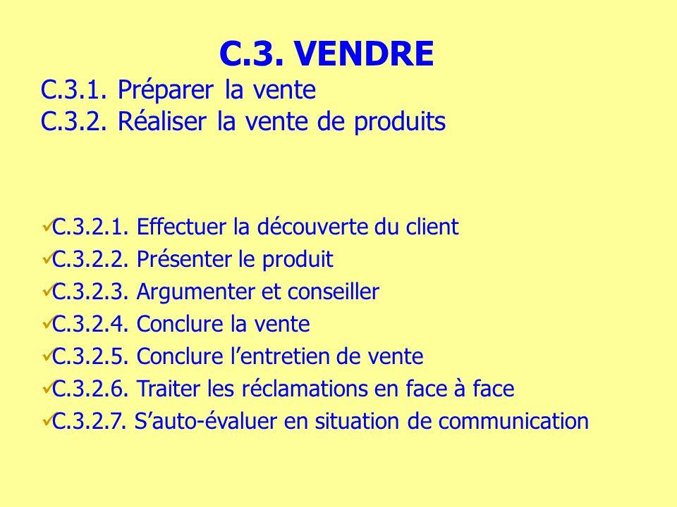 C.3.2.1. Effectuer la découverte du client C.3.2.2. Présenter le produit C.3.2.3. Argumenter et conseiller C.3.2.4. Conclure la vente C.3.2.5. Conclur