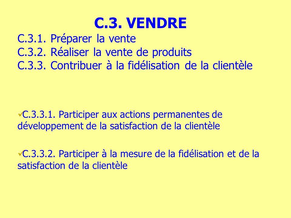 C.3.3.1. Participer aux actions permanentes de développement de la satisfaction de la clientèle C.3.3.2. Participer à la mesure de la fidélisation et