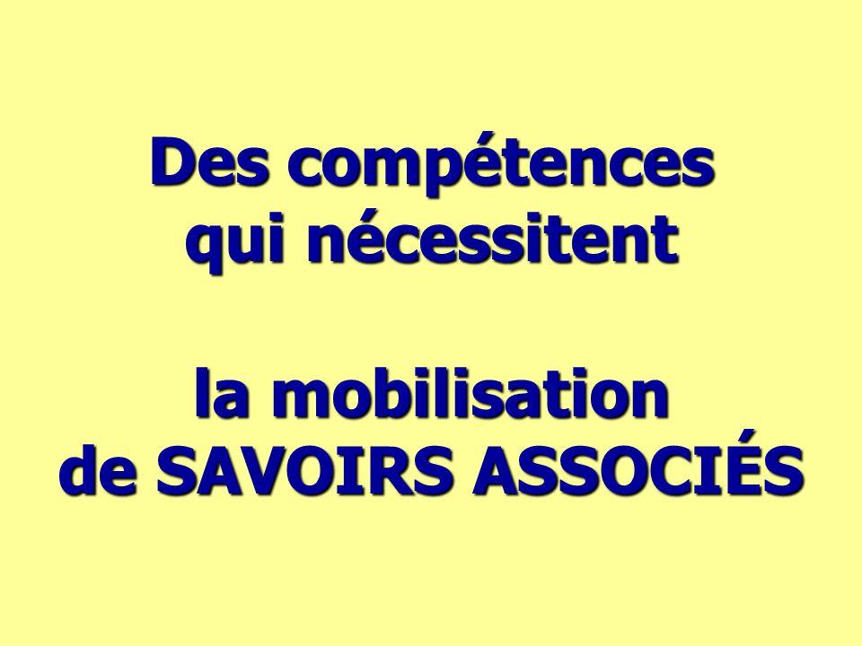 Des compétences qui nécessitent la mobilisation de SAVOIRS ASSOCIÉS