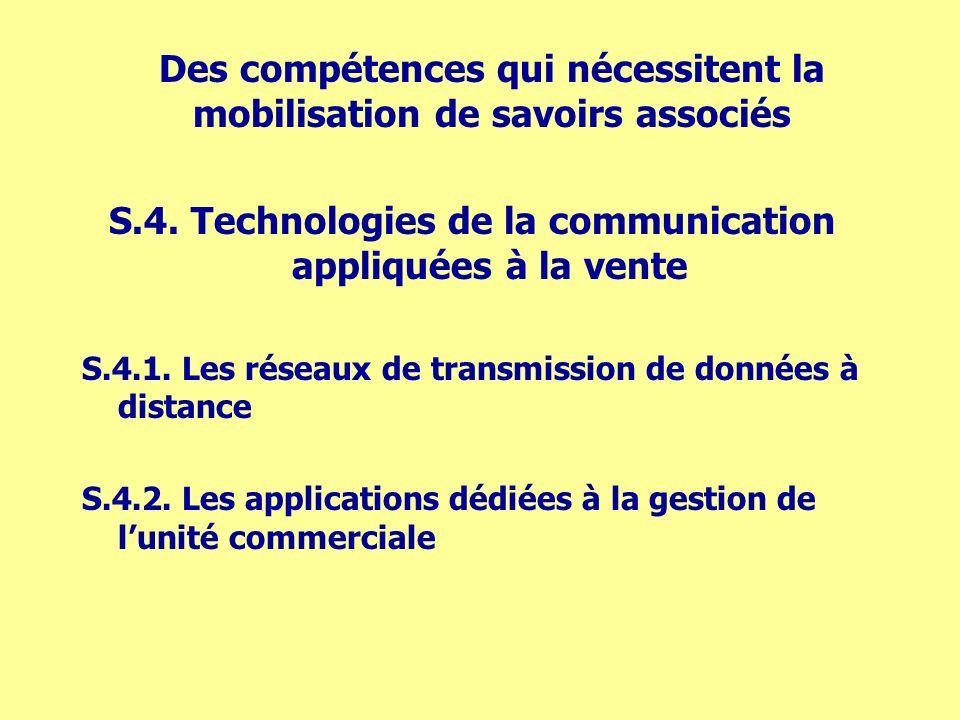 S.4. Technologies de la communication appliquées à la vente S.4.1. Les réseaux de transmission de données à distance S.4.2. Les applications dédiées à