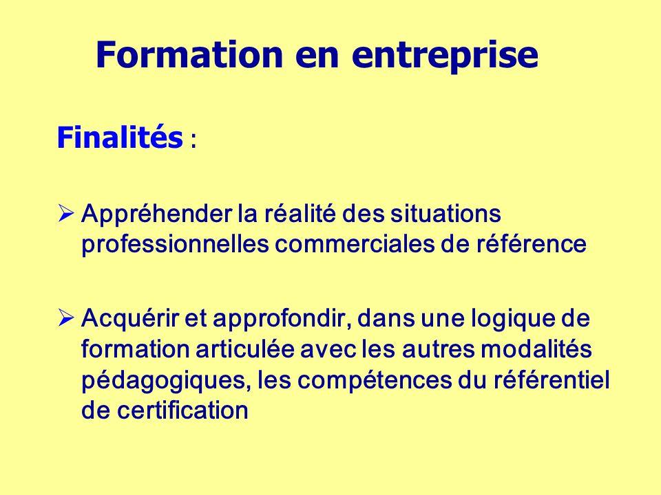 Formation en entreprise Finalités : Appréhender la réalité des situations professionnelles commerciales de référence Acquérir et approfondir, dans une