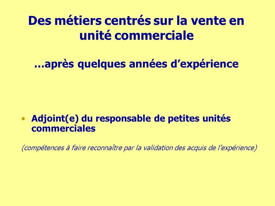 Des métiers centrés sur la vente en unité commerciale …après quelques années dexpérience Adjoint(e) du responsable de petites unités commerciales (com