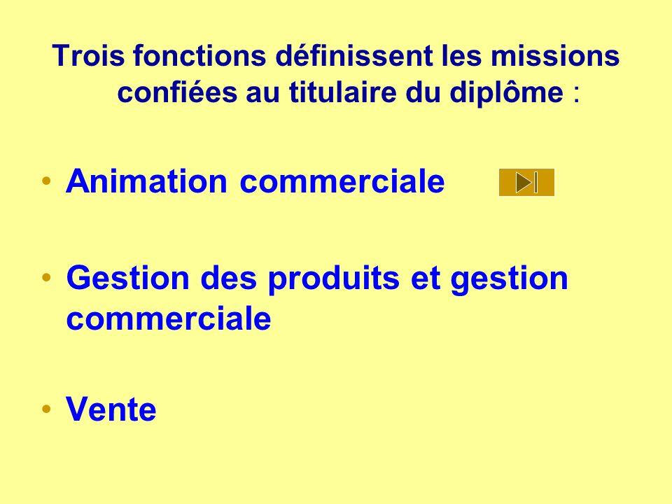 Trois fonctions définissent les missions confiées au titulaire du diplôme : Animation commerciale Gestion des produits et gestion commerciale Vente