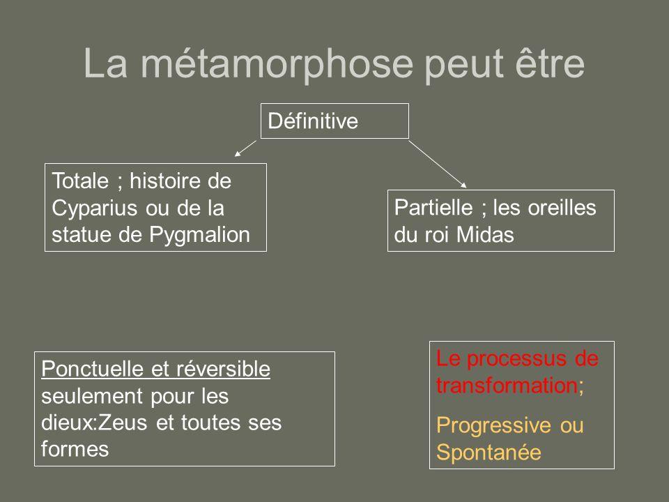 La métamorphose peut être Totale ; histoire de Cyparius ou de la statue de Pygmalion Partielle ; les oreilles du roi Midas Ponctuelle et réversible se