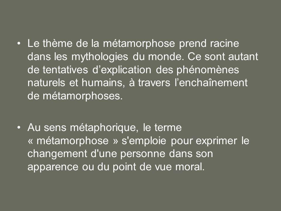 Le thème de la métamorphose prend racine dans les mythologies du monde. Ce sont autant de tentatives dexplication des phénomènes naturels et humains,
