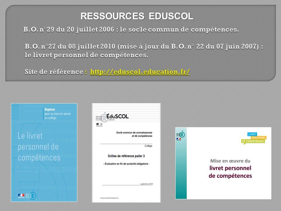 RESSOURCES EDUSCOL