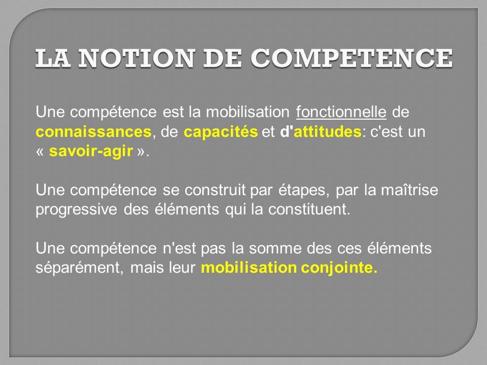 Une compétence est la mobilisation fonctionnelle de connaissances, de capacités et d'attitudes: c'est un « savoir-agir ». Une compétence se construit