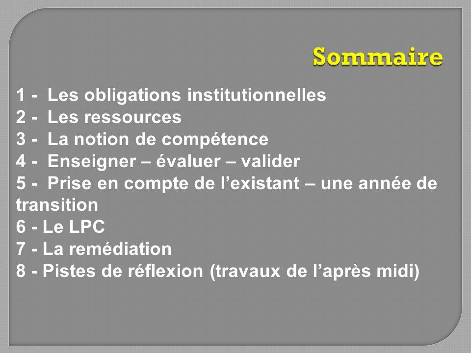 1 - Les obligations institutionnelles 2 - Les ressources 3 - La notion de compétence 4 - Enseigner – évaluer – valider 5 - Prise en compte de lexistan