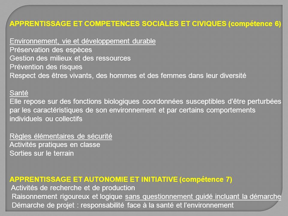 APPRENTISSAGE ET COMPETENCES SOCIALES ET CIVIQUES (compétence 6) Environnement, vie et développement durable Préservation des espèces Gestion des mili