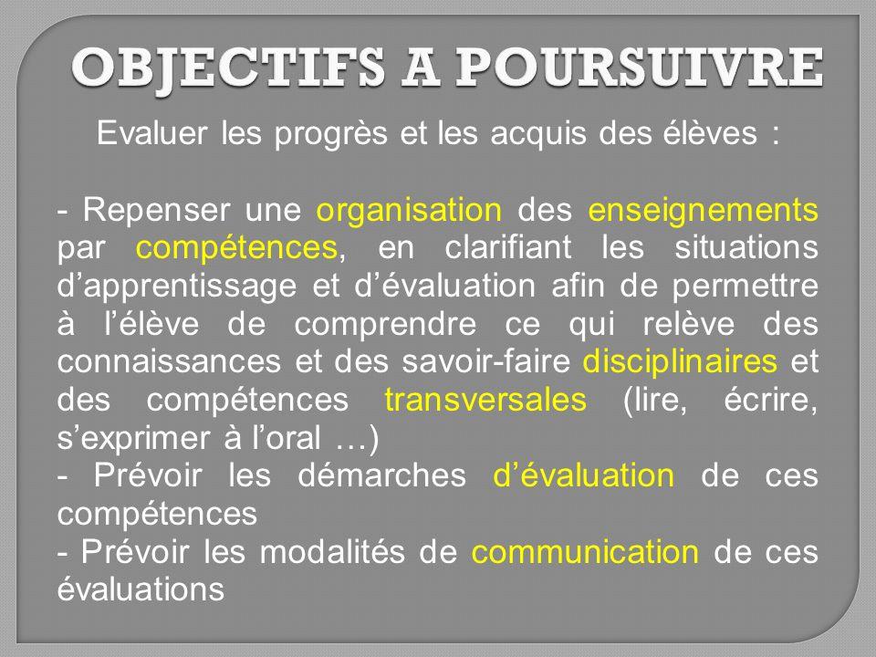 Evaluer les progrès et les acquis des élèves : - Repenser une organisation des enseignements par compétences, en clarifiant les situations dapprentiss