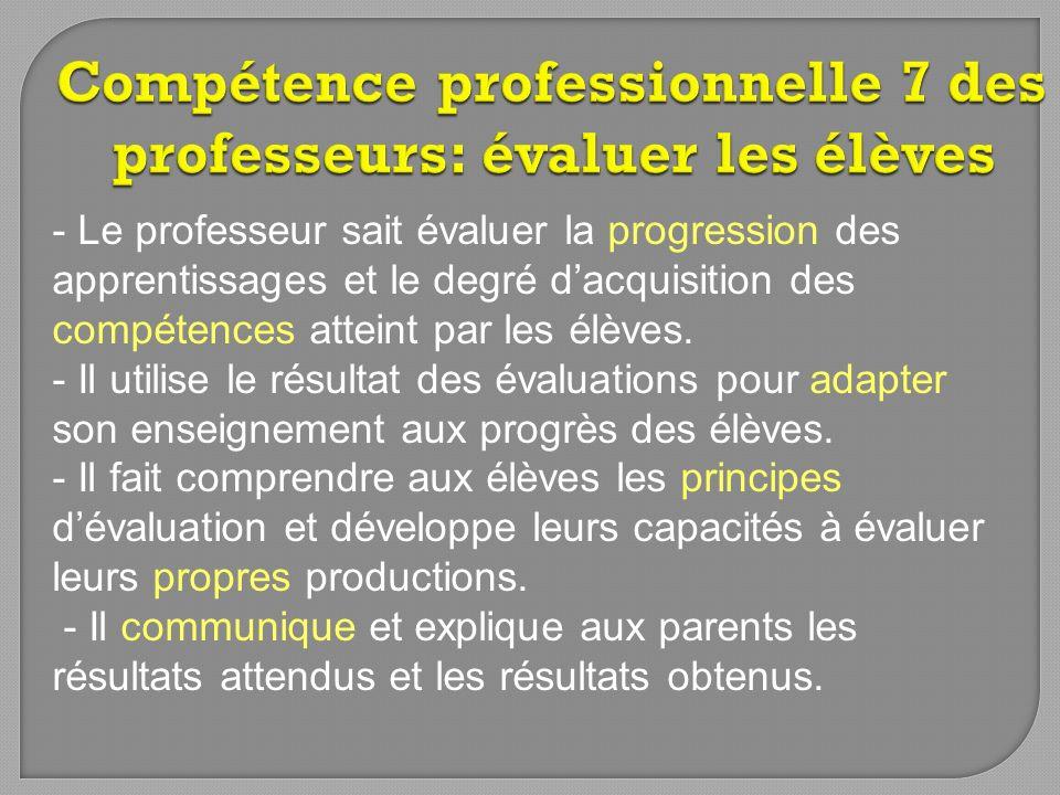 - Le professeur sait évaluer la progression des apprentissages et le degré dacquisition des compétences atteint par les élèves. - Il utilise le résult