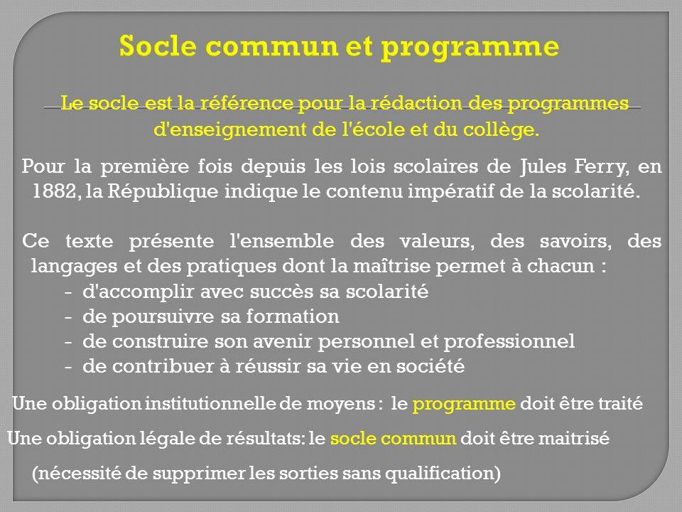 Le socle est la référence pour la rédaction des programmes d'enseignement de l'école et du collège. Pour la première fois depuis les lois scolaires de