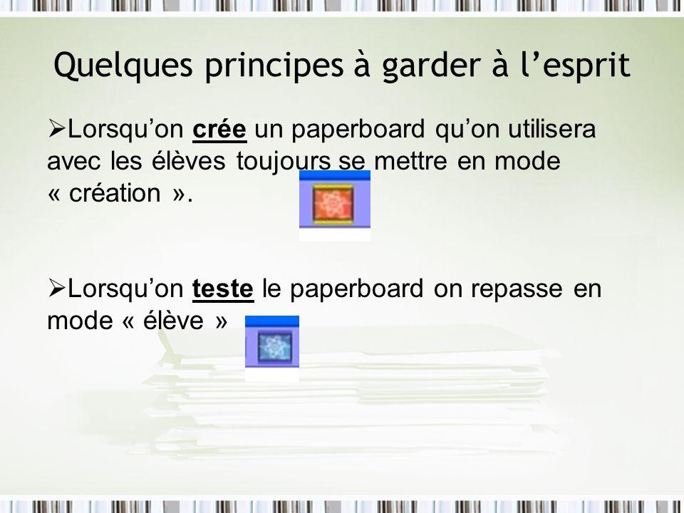 Quelques principes à garder à lesprit Lorsquon crée un paperboard quon utilisera avec les élèves toujours se mettre en mode « création ». Lorsquon tes