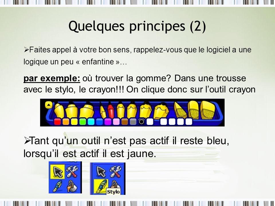 Quelques principes (2) Faites appel à votre bon sens, rappelez-vous que le logiciel a une logique un peu « enfantine »… par exemple: où trouver la gom