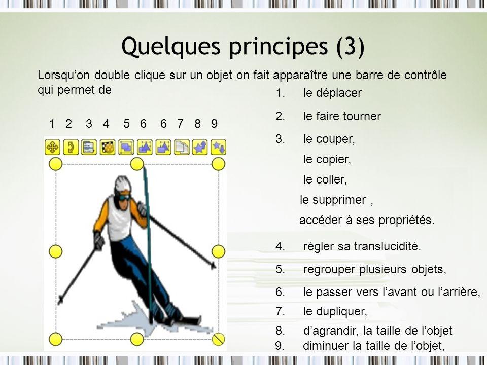 Quelques principes (3) Lorsquon double clique sur un objet on fait apparaître une barre de contrôle qui permet de 8. dagrandir, la taille de lobjet 9.