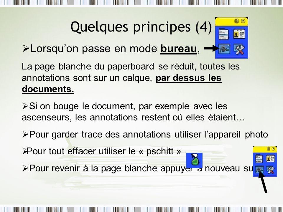 Quelques principes (4) Lorsquon passe en mode bureau, La page blanche du paperboard se réduit, toutes les annotations sont sur un calque, par dessus l