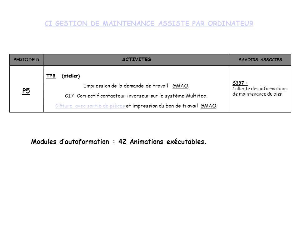 CI GESTION DE MAINTENANCE ASSISTE PAR ORDINATEUR PERIODE 5 ACTIVITES SAVOIRS ASSOCIES P5 (atelier) TP3 (atelier) Impression de la demande de travail GMAO.