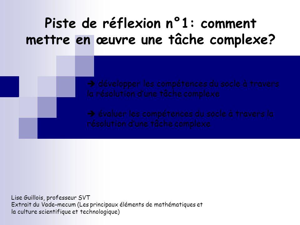 Piste de réflexion n°1: comment mettre en œuvre une tâche complexe? Lise Guillois, professeur SVT Extrait du Vade-mecum (Les principaux éléments de ma