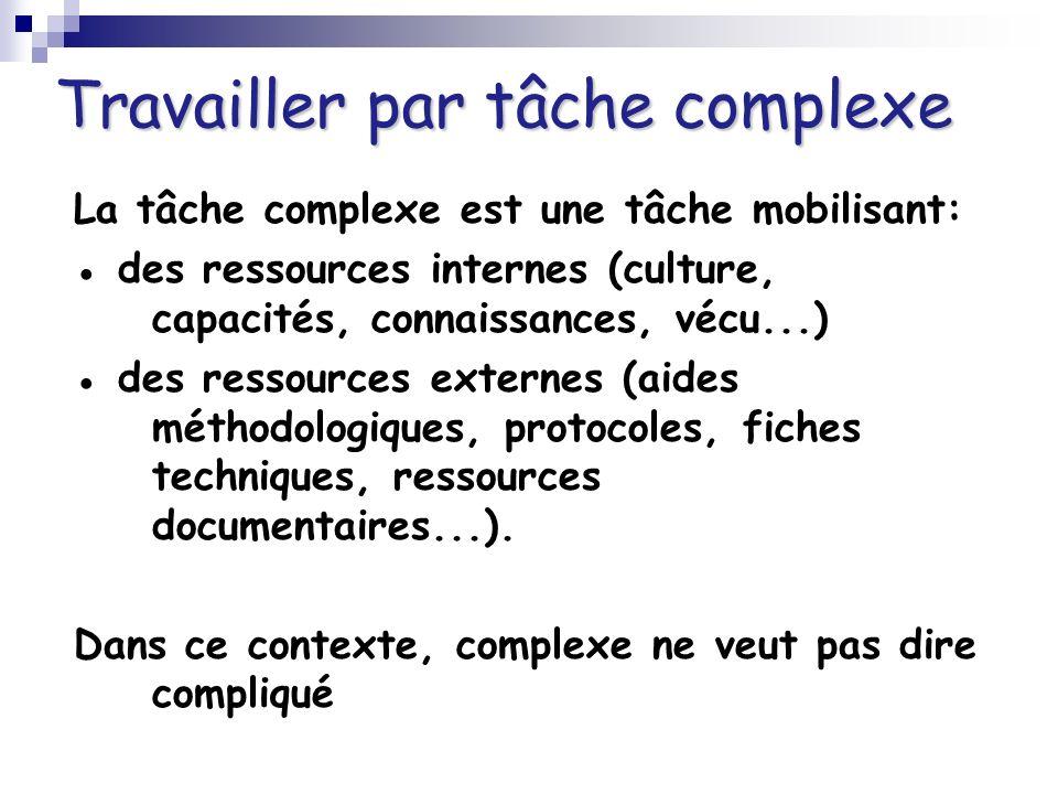 Travailler par tâche complexe La tâche complexe est une tâche mobilisant: des ressources internes (culture, capacités, connaissances, vécu...) des res
