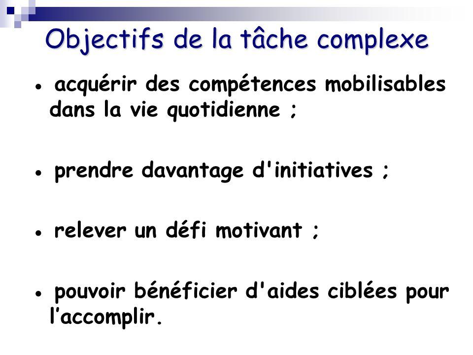 Objectifs de la tâche complexe acquérir des compétences mobilisables dans la vie quotidienne ; prendre davantage d'initiatives ; relever un défi motiv