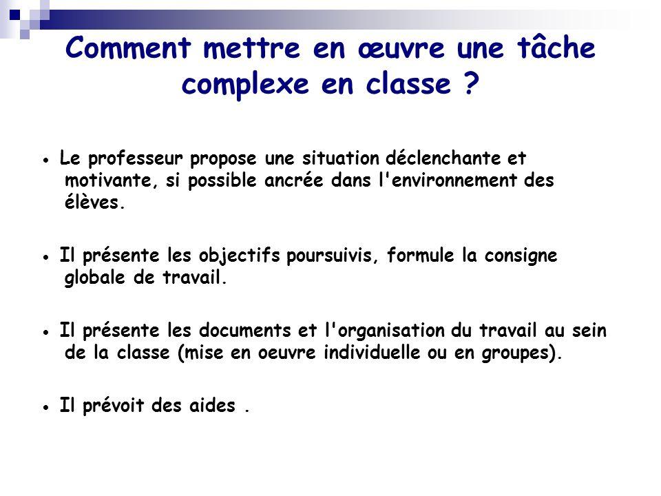 Comment mettre en œuvre une tâche complexe en classe ? Le professeur propose une situation déclenchante et motivante, si possible ancrée dans l'enviro