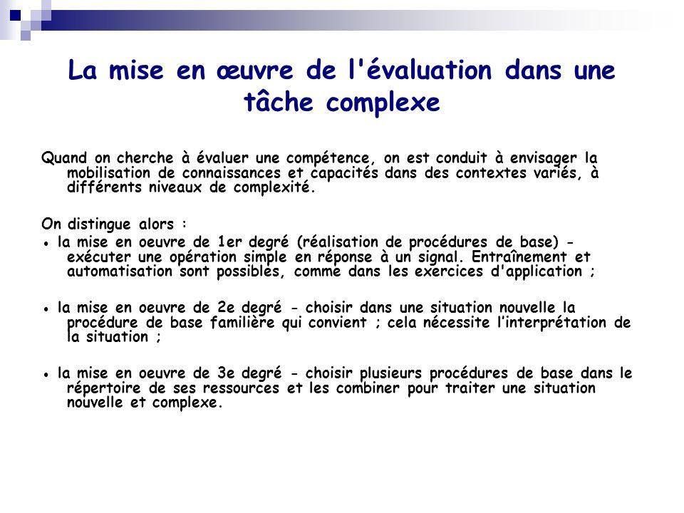 La mise en œuvre de l'évaluation dans une tâche complexe Quand on cherche à évaluer une compétence, on est conduit à envisager la mobilisation de conn