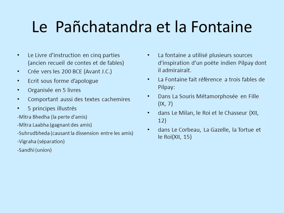 Le Pañchatandra et la Fontaine Le Livre dinstruction en cinq parties (ancien recueil de contes et de fables) Crée vers les 200 BCE (Avant J.C.) Ecrit