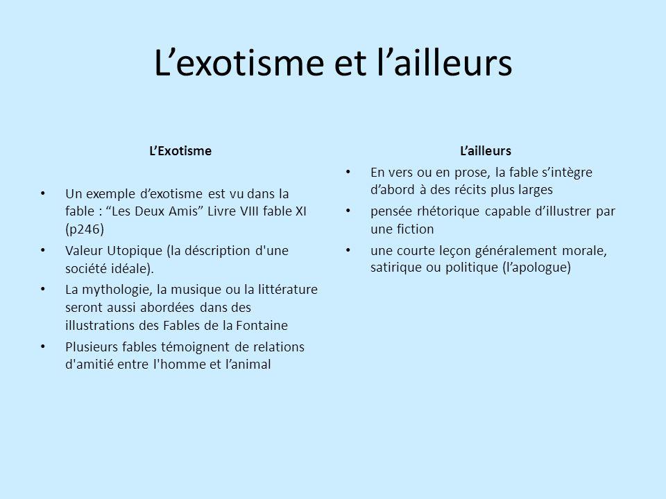 Lexotisme et lailleurs LExotisme Un exemple dexotisme est vu dans la fable : Les Deux Amis Livre VIII fable XI (p246) Valeur Utopique (la déscription d une société idéale).