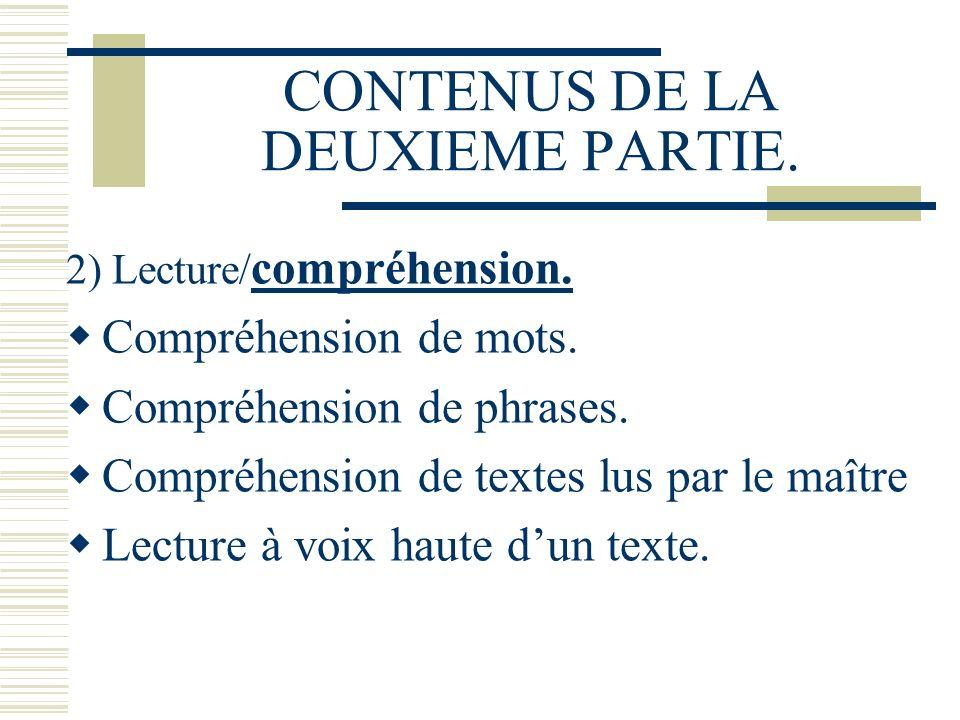 CONTENUS DE LA DEUXIEME PARTIE. 2) Lecture/ compréhension. Compréhension de mots. Compréhension de phrases. Compréhension de textes lus par le maître