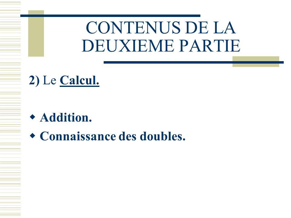 CONTENUS DE LA DEUXIEME PARTIE 2) Le Calcul. Addition. Connaissance des doubles.