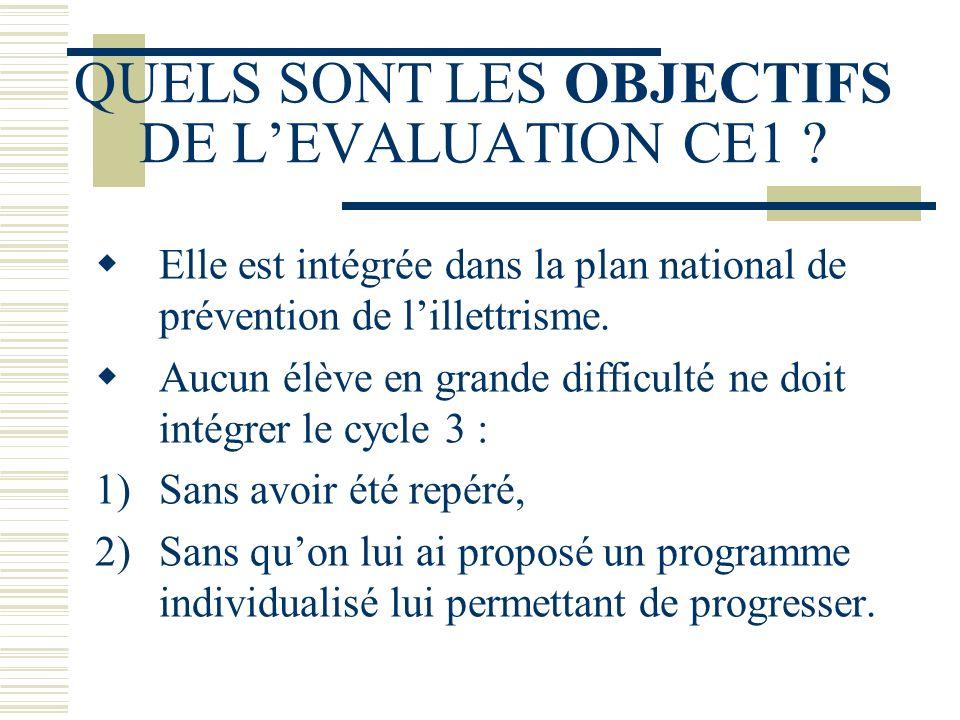 QUELS SONT LES OBJECTIFS DE LEVALUATION CE1 ? Elle est intégrée dans la plan national de prévention de lillettrisme. Aucun élève en grande difficulté
