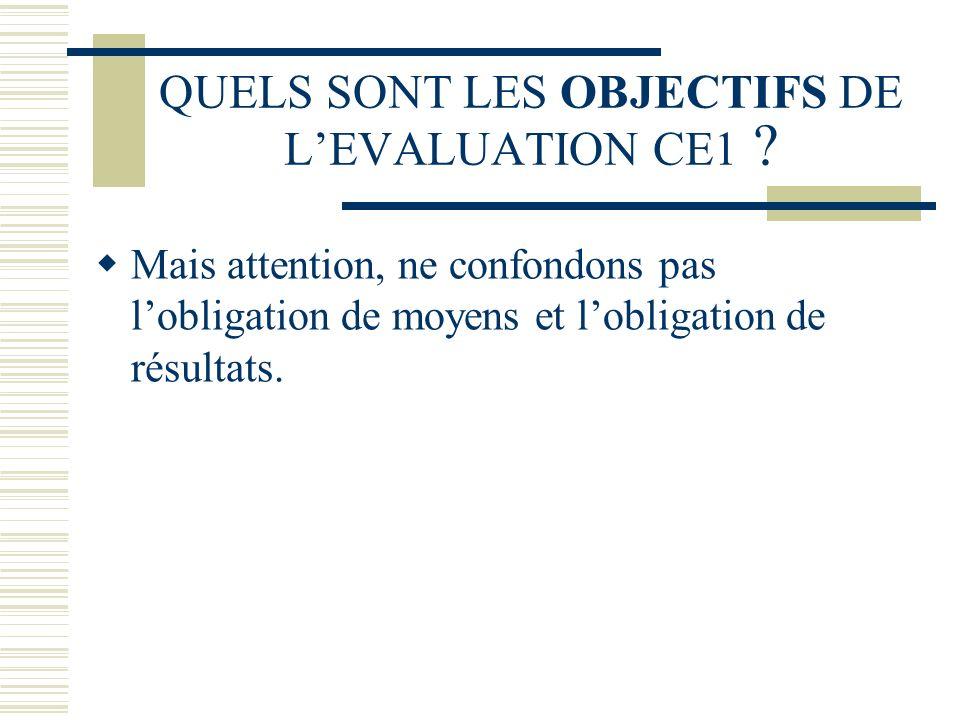 QUELS SONT LES OBJECTIFS DE LEVALUATION CE1 ? Mais attention, ne confondons pas lobligation de moyens et lobligation de résultats.