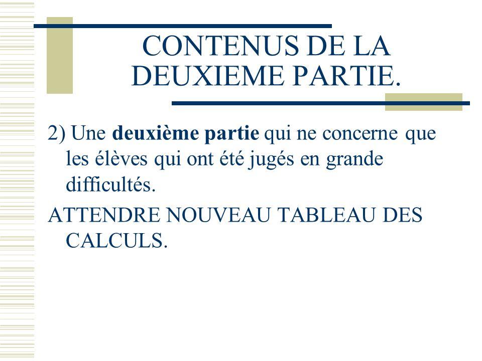 CONTENUS DE LA DEUXIEME PARTIE. 2) Une deuxième partie qui ne concerne que les élèves qui ont été jugés en grande difficultés. ATTENDRE NOUVEAU TABLEA