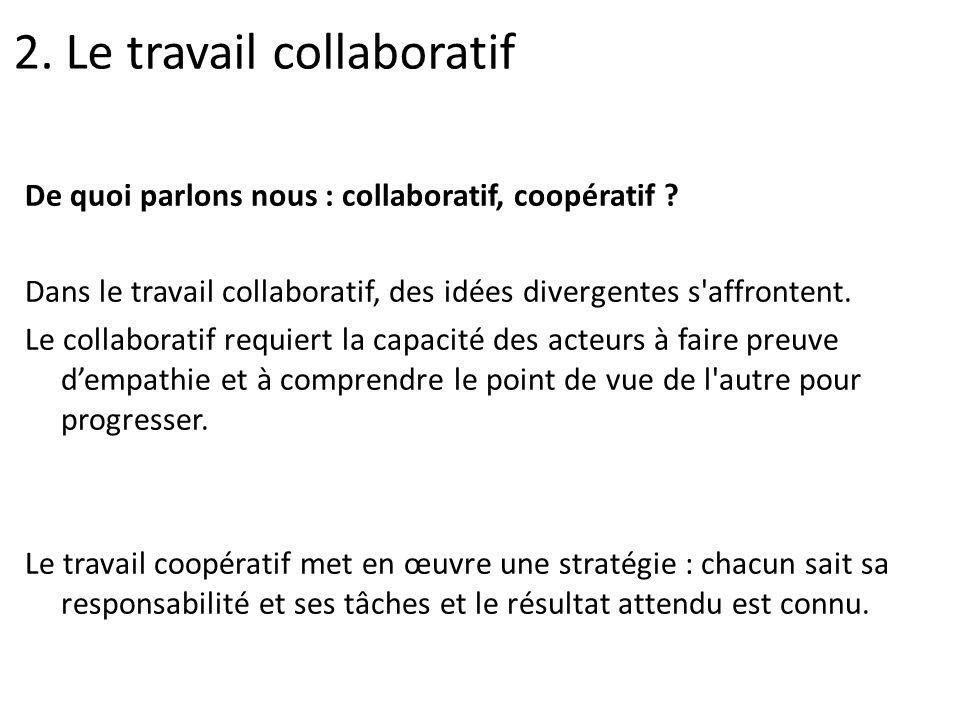 De quoi parlons nous : collaboratif, coopératif ? Dans le travail collaboratif, des idées divergentes s'affrontent. Le collaboratif requiert la capaci
