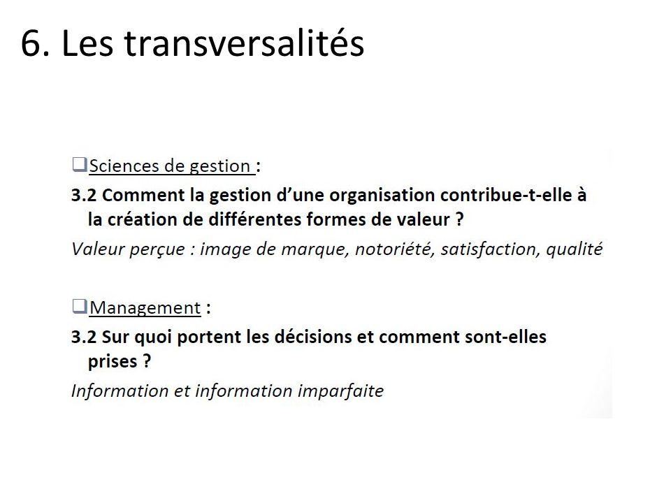 6. Les transversalités