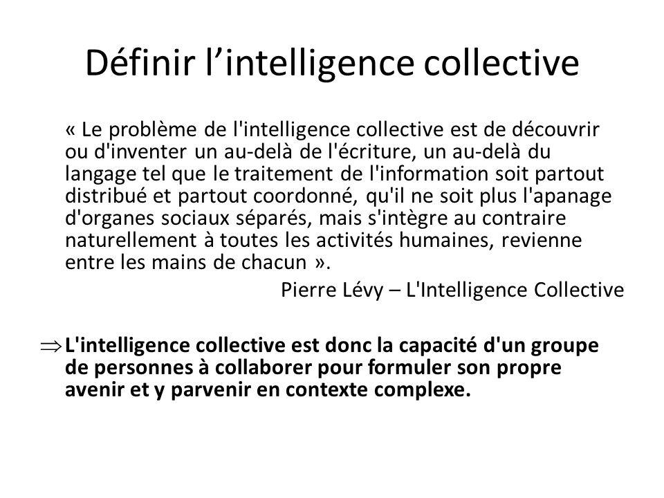 Définir lintelligence collective « Le problème de l'intelligence collective est de découvrir ou d'inventer un au-delà de l'écriture, un au-delà du lan