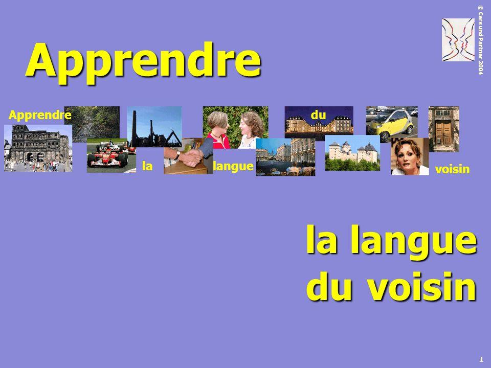© Cers und Partner 2004 1 Apprendre la langue Apprendre lalangue du voisin du voisin