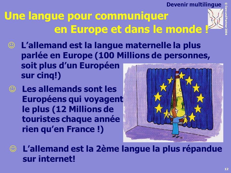 © Cers und Partner 2004 12 Lallemand est la 2ème langue la plus répandue sur internet! Les allemands sont les Européens qui voyagent le plus (12 Milli