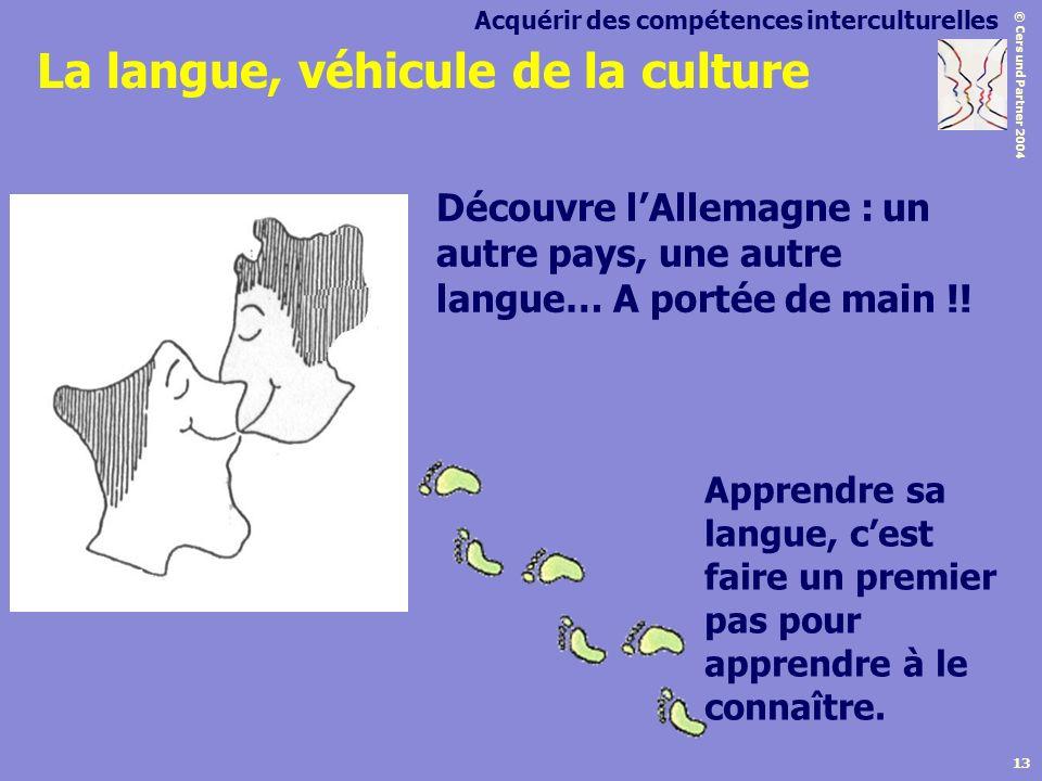 © Cers und Partner 2004 13 Apprendre sa langue, cest faire un premier pas pour apprendre à le connaître. Acquérir des compétences interculturelles La