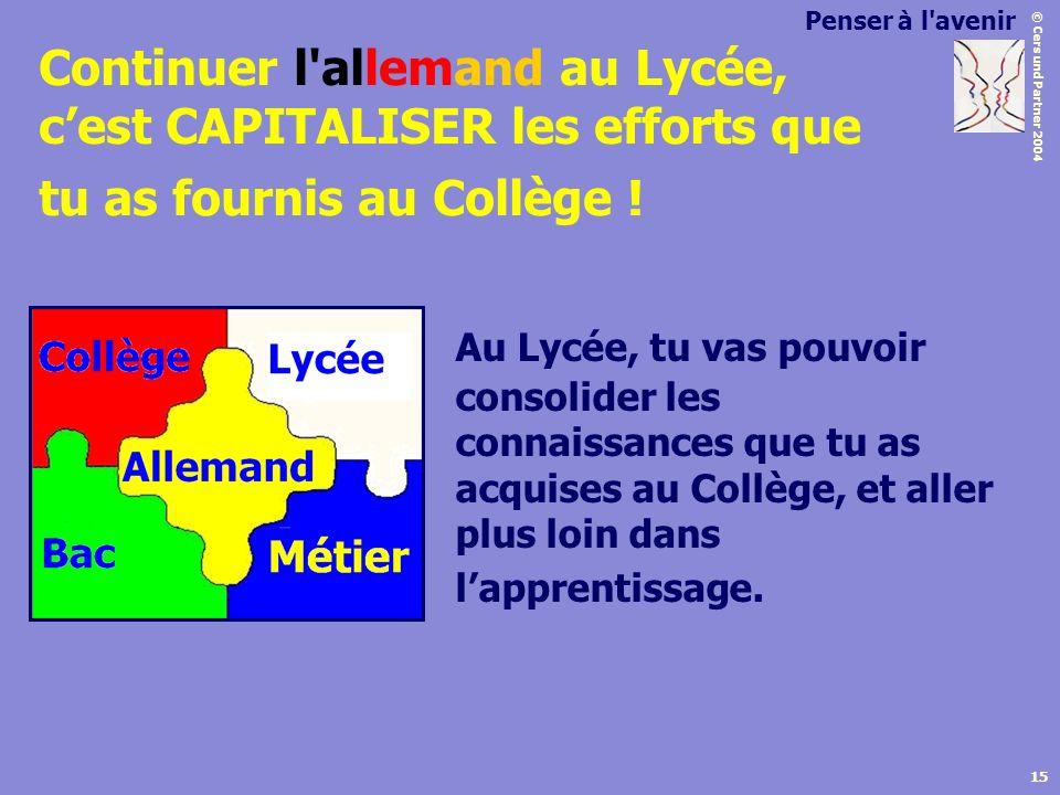 © Cers und Partner 2004 15 Continuer l'allemand au Lycée, cest CAPITALISER les efforts que tu as fournis au Collège ! Au Lycée, tu vas pouvoir consoli