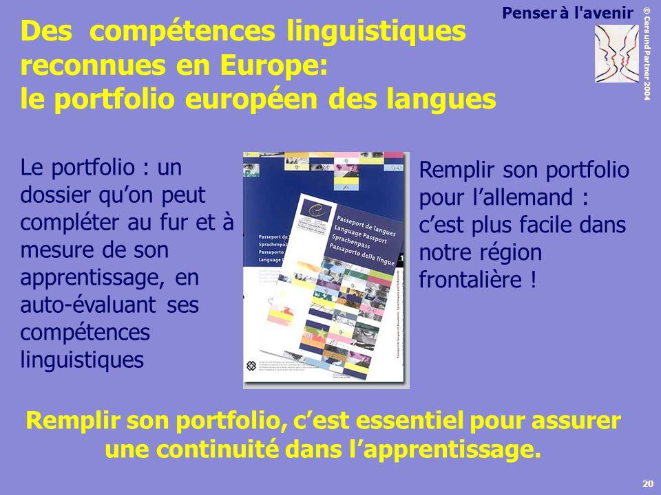 © Cers und Partner 2004 20 Des compétences linguistiques reconnues en Europe: le portfolio européen des langues Remplir son portfolio, cest essentiel