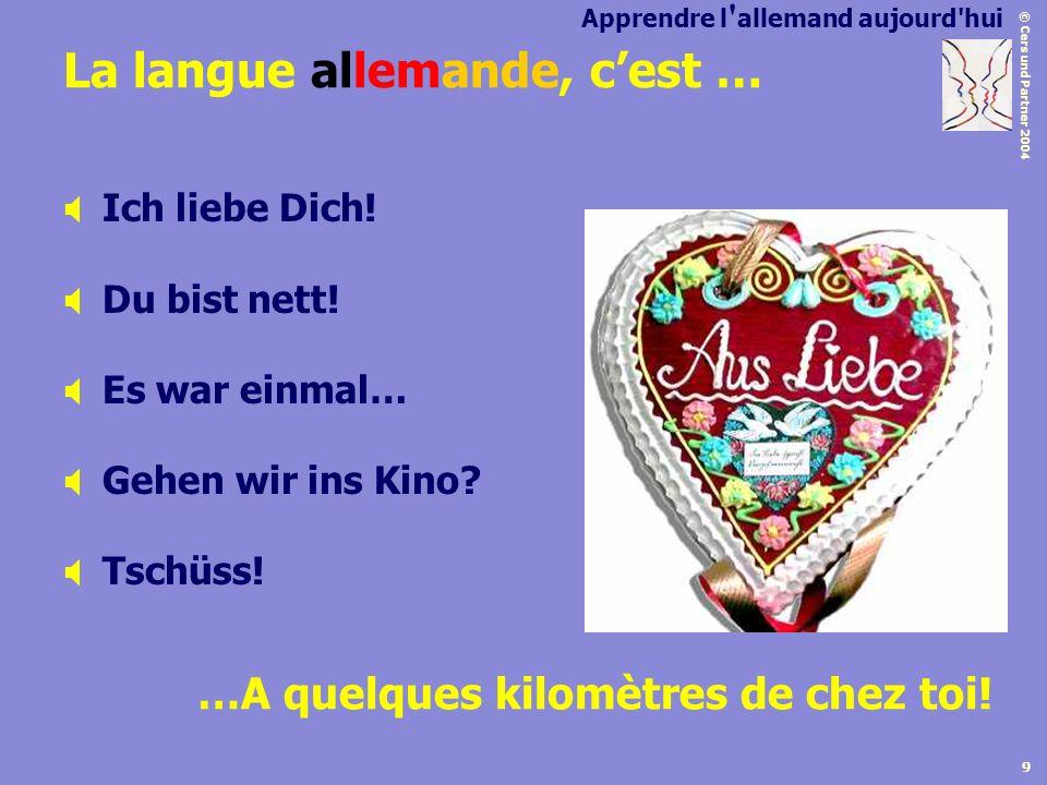 © Cers und Partner 2004 9 La langue allemande, cest … Ich liebe Dich! Du bist nett! Es war einmal… Gehen wir ins Kino? Tschüss! …A quelques kilomètres